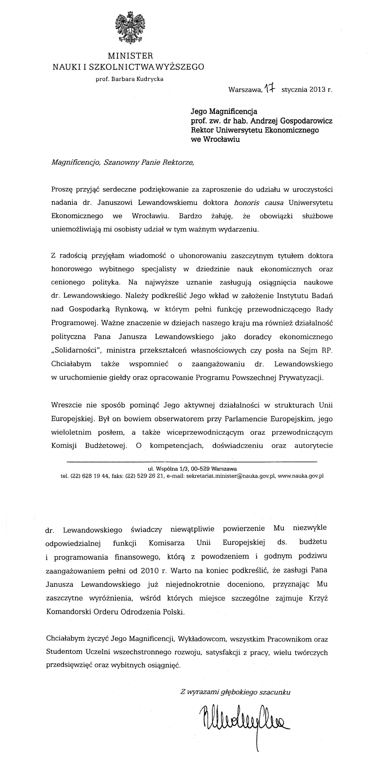 Janusz Lewandowski Doktor Honoris Causa Rok 2013 Aktualności